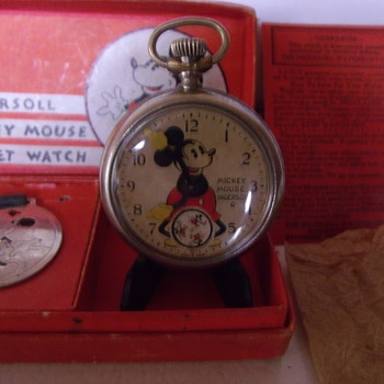 First Issue Complete Set Mickey Mouse Pocket Watch - Pocket Watches