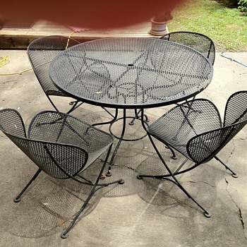 Cup Chairs &amp; Table Wrought Iron Mid Century Danish Modern?