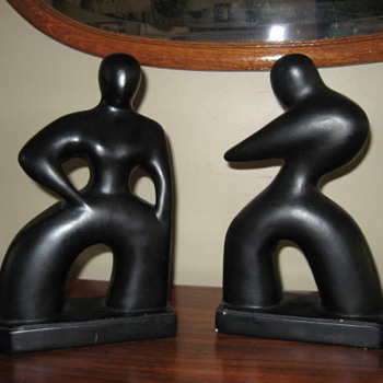Art deco black figurine book ends