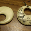 Scrimshaw carved earings, Eskimo?