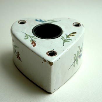 antique french 18th century majolica inkwell.