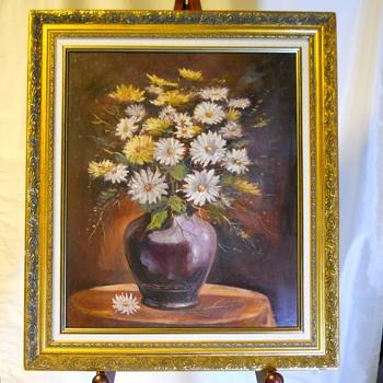 Oil on Panel, Still Life, Daisy in a Vase, Louis ??????,Circa 1940-50 - Visual Art