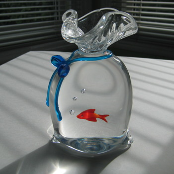 Oscar Zanetti Murano fish in a bag - Art Glass