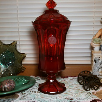 Fostoria Red Coin Glass Lidded Urn - Glassware
