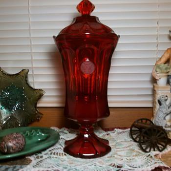 Fostoria Red Coin Glass Lidded Urn