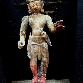 19thC India Temple wooden statue - Asian