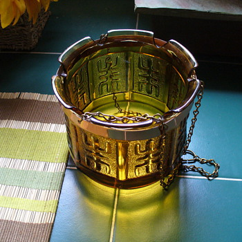 Oriental Amber Glass Planter - Glassware