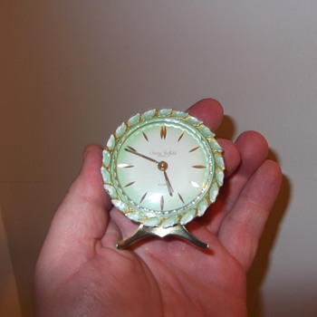 small Suiza sheffeld enameled alarm clock