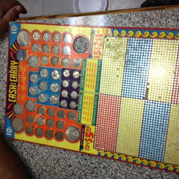 Vintage Punch Board Cash & Carry WITH coins! - Games