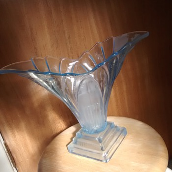 Pale Blue Art Deco influenced large glass Vase, maker and age unknown, but the style is Art Deco I believe?