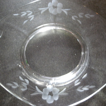 Etched Flowers Design Platter Dish-Depression? - Glassware