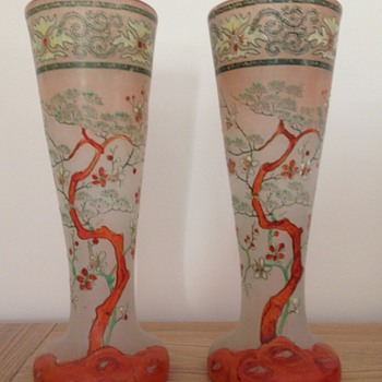 interessant pair of vases Japanism from Legras' factory - Art Nouveau