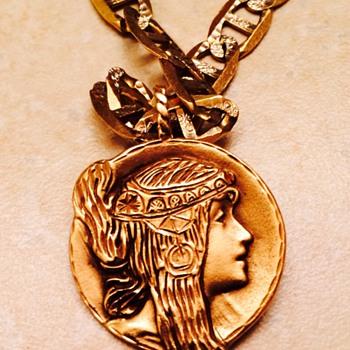 Art Nouveau Style Gold Lady Pendant