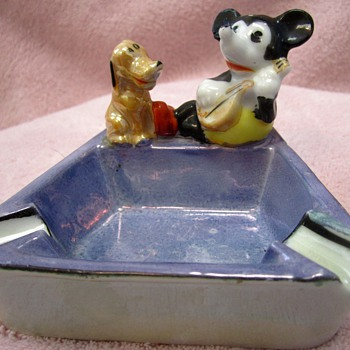 Mickey Mouse and Pluto Ashtray - 1930's