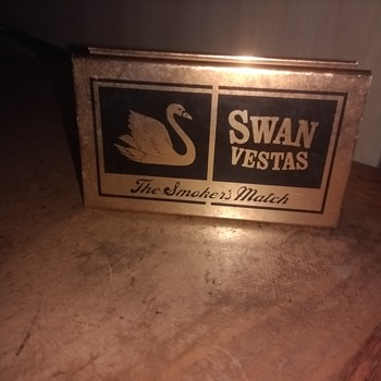 Swan Vestas The Smokers match copper  coloured metal cover for Swan vesta Matches, boot sale find today. - Tobacciana