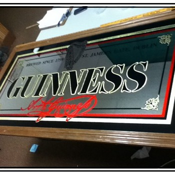 vintage guinness large mirror 60'' x 27''  - Advertising