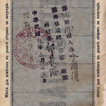 1920 Chinese consulate at Vladivostok issued visa
