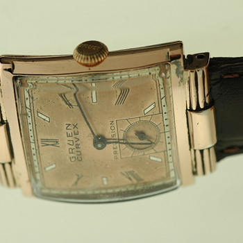 Mens Gruen Curvex Rose Gold Filled Dress Watch