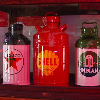 Five Gallon Texaco Oil Can...Ten Gallon Shell Oil Can...Five Gallon Indian Oil Can