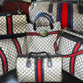 Vintage Gucci Luggage Travel Bags w/2 Trains - All from the 80's except small train is from the 70's. Excellent Condition. - Bags
