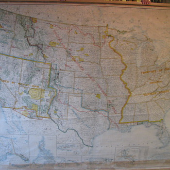 1917 B.F. BARTLE Map of the U.S. - Paper