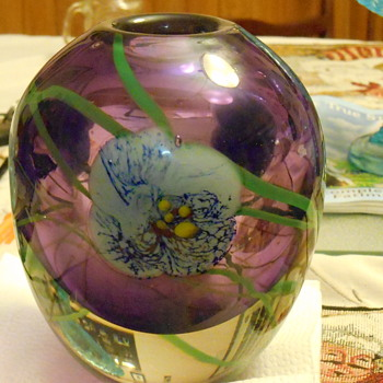 Encased Purple Floral Vase a true mystery!