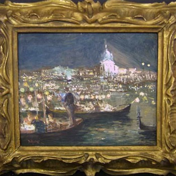 Venice Italy Night Painting by Bepi Oliveri In Hand-Carved Frame (circa 1920s) - Visual Art