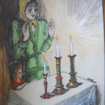 Saul Raskin Etching of Mother & Daughter lighting Shabatt Candles""