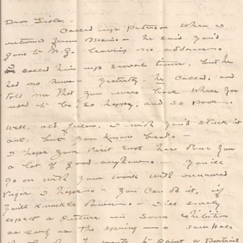 Haydon Jones letter, 1920