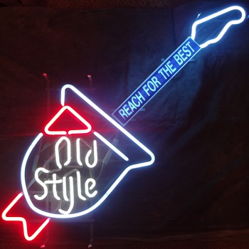 OLD STYLE BEER -  1970's Neon Guitar Sign
