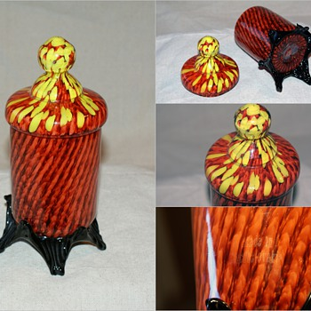 Franz Welz spots and stripes covered dish/ candy dish 7 1/2 &quot; tall - Art Glass