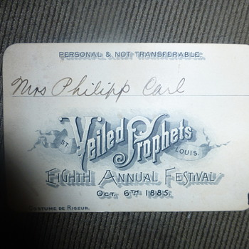 1885 Ticket to the Veiled Prophets Eighth Annual Festival - Paper