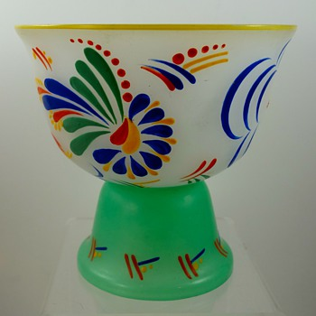 Enameled Czech Opal glass vase, ca. 1930s - part II - Art Glass