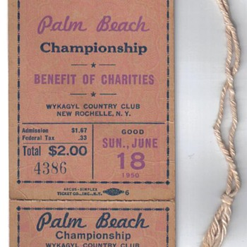 1950 PGA Tournament Ticket - Paper