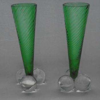 Art Nouveau Green Glass Vases......Harrach