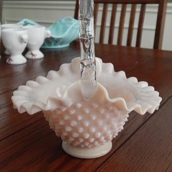 Fenton rose pastel basket