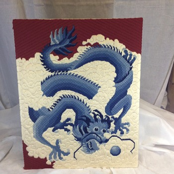 Vtg Asian needlework of dragon