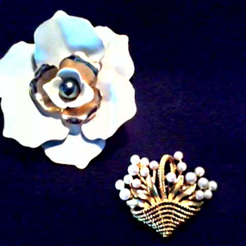 Trifari Enamel and Faux Pearl Floral Brooches / Circa 1960's - Costume Jewelry