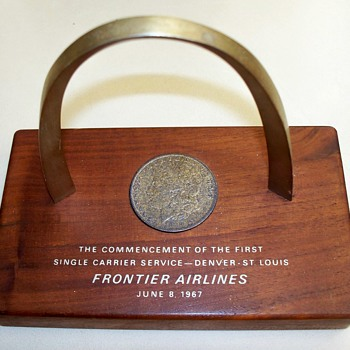 Frontier Airlines 1967 Placard with 1883 Silver Dollar