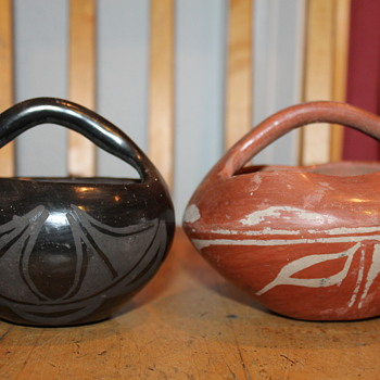 Southwestern Native American Pottery 2 pots with Handles &quot;Baskets&quot;