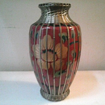 "8"" Japanese Meiji Art Pottery Vase with Silver (Plate) Basket Weave Overlay /Circa 1900-1912 (20 ?) - Art Pottery"