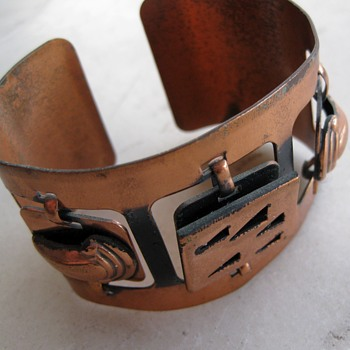 Unmarked copper cuff and earrings from the 50's or 60's