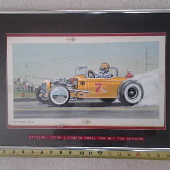 hand painted 1960s  original lindberg model car artwork