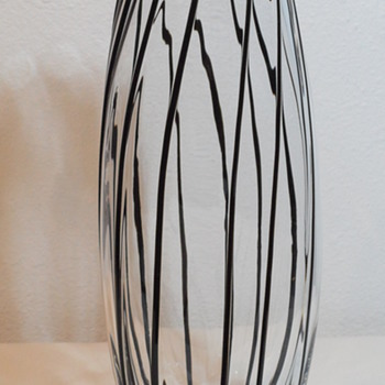 Clear Glass Vase with Black inlaid Stripes - Art Glass