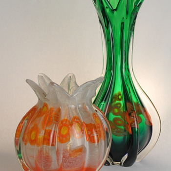Multi Glass vases with millefiori -part 1