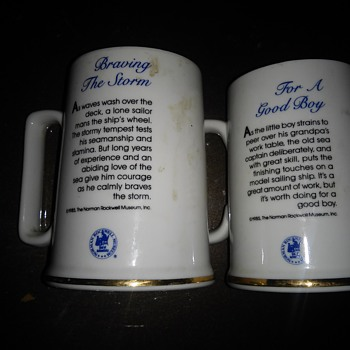 Nice Gold rim Norman Rockwell cups