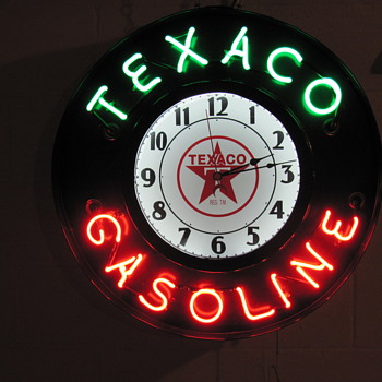 texaco neon clock - Petroliana
