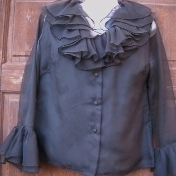 Parisian Black Sheer Ruffle shirt - Womens Clothing