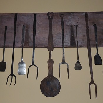 Collection of American Wrought Iron Hearth Tools & Kitchen Implements  - 18th & 19th Century