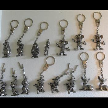 Disney Pewter Keychains Vintage 1977